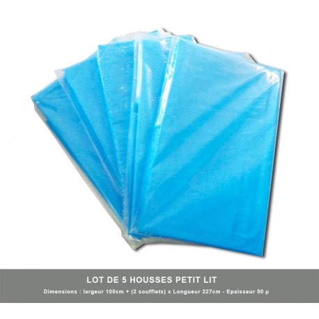 5 x Housses petit lit ( Larg Maxi 1 mètre ) emballage individuel