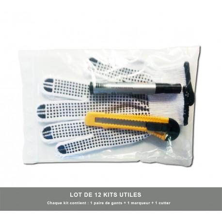 12 x Kits Utiles (Gants + Cutter et Marqueur Bic )